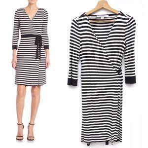 Diane Von Furstenberg Stripe Jersey Wrap Dress